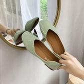牛油果綠仙女風淺口單鞋夏季新款韓版網紅時尚超火平底豆豆鞋新年交換禮物