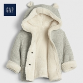 Gap男女嬰兒保暖仿羊羔绒内里熊耳连帽衫493885-淺麻灰色