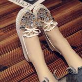 涼鞋-夏季新款淺口豆豆鞋網面透氣鏤空平底鞋時尚蝴蝶結網紗涼鞋女 好再來小屋
