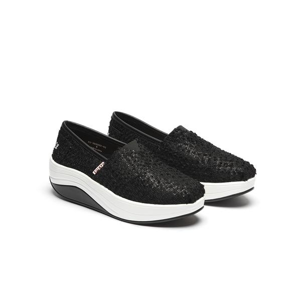 JANICE-柔軟立體花布增高休閒鞋352020-02黑