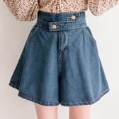 MIUSTAR 不對稱交疊雙釦花苞鬆緊A字牛仔短褲(共2色)【NH0120】預購