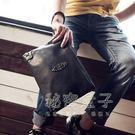 韓版男士時尚手包朋克潮男包女信封手拿包手抓包 A4文件差包  秘密盒子