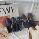 小皮鞋女英倫風復古2021秋冬新款平底單鞋蝴蝶結學生一腳蹬樂福鞋 新年禮物