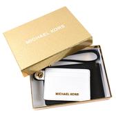 美國正品 MICHAEL KORS 金字防刮皮革手掛證件夾/零錢包禮盒組-黑/白 【現貨】