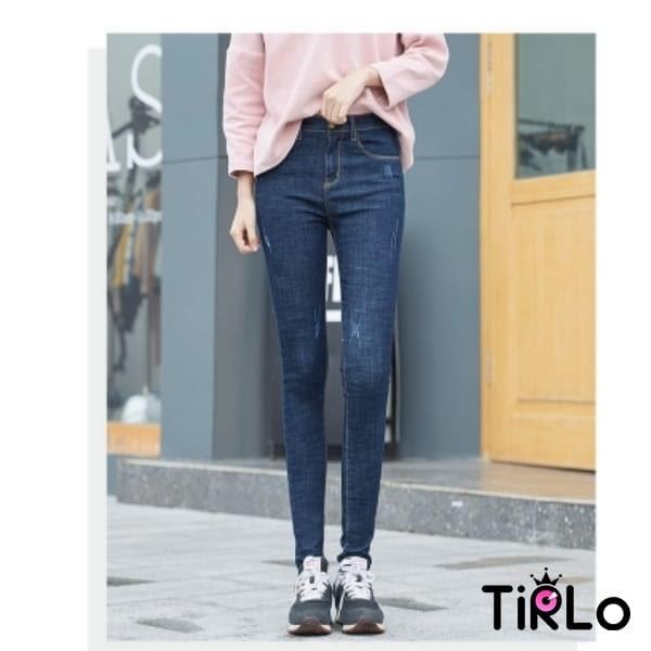 牛仔褲 -Tirlo-春季彈性微破損小腳牛仔褲-兩色/26-31(現+追加預計5-7工作天出貨)
