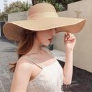 沙灘草帽女夏天海邊大帽檐防曬遮陽出游度假休閒百搭大沿太陽帽子 傑森型男館
