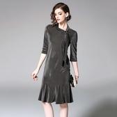 洋裝-五分袖純色繫帶領荷葉邊絲絨女連身裙2色73of124[巴黎精品]