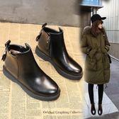 秋冬鞋女韓版學生chic馬丁靴女英倫風平跟加絨短靴保暖靴   傑克型男館