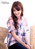 Victoria 飛鼠袖格紋襯衫-女-藍色