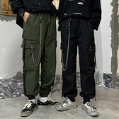 20ss嘻哈潮人多口袋暗黑風傘兵褲男寬鬆休閒褲國潮機能工裝束腳褲 米娜小鋪