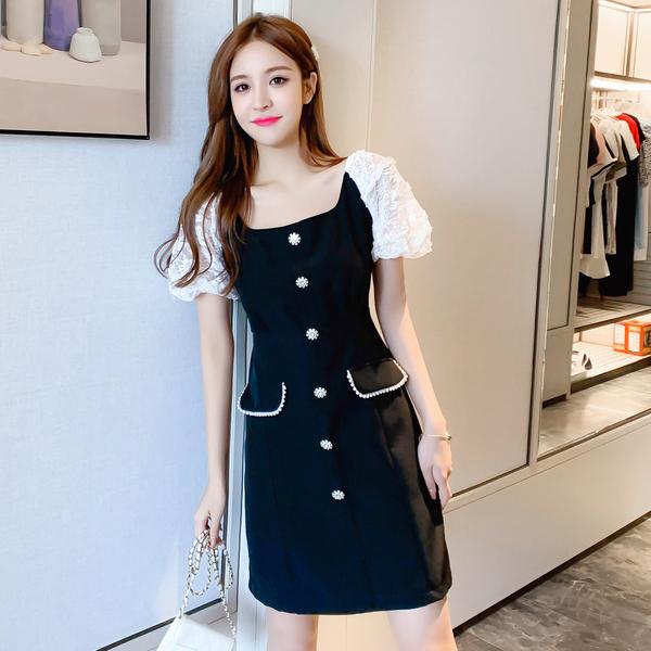 超殺29折 韓國復古小香風方領蕾絲拼接泡泡袖盤扣雙口袋短袖洋裝
