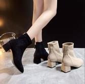 短筒靴 粗跟方頭短靴女中跟2020年冬季新款百搭後拉鏈靴子