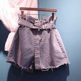 夏季新款綁帶高腰牛仔短褲女復古寬鬆百搭闊腿褲學生韓版熱褲     芊惠衣屋