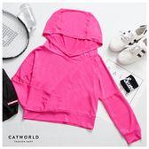 Catworld 後挖空連帽短版運動罩衫【11406534】‧S/M/L/XL