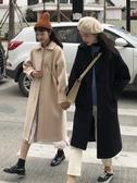 秋冬韓版新款寬鬆中長款加厚流行呢子大衣長袖毛呢外套女學生 雅楓居