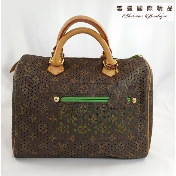 【雪曼國際精品】Louis Vuitton  LV M95181 綠色speedy30洞洞包~二手包(8.8成新)