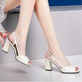 粗跟涼鞋女夏季新款真皮大東一字帶高跟鞋時尚百搭中跟魚嘴女鞋潮
