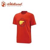 【Wildland 男 仿棉印花抗UV圓領衣《橘》】11616/吸濕/排汗/抗UV/短袖/棉T