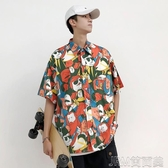 襯衫夏季港風夏威夷海灘花襯衫男短袖印花上衣韓版襯衣 JRM簡而美
