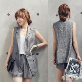 中大尺碼 西裝背心外套春夏季新款韓版亞麻無袖西裝  Ic1474『毛菇小象』