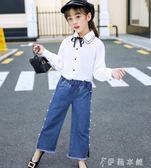 牛仔褲 女童裝兒童洋氣女大童寬鬆長褲中大童牛仔褲子 伊鞋本鋪