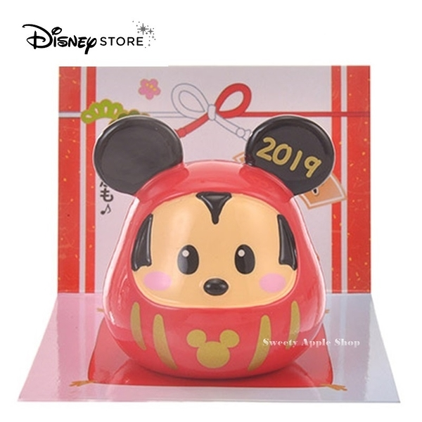 日本限定 迪士尼商店 Disney Store 新年 米奇 達摩  吉祥物 公仔擺飾