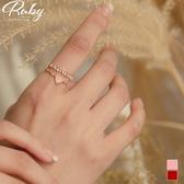 戒指 韓國直送‧蛋白石愛心花朵水鑽指環戒指-Ruby s 露比午茶