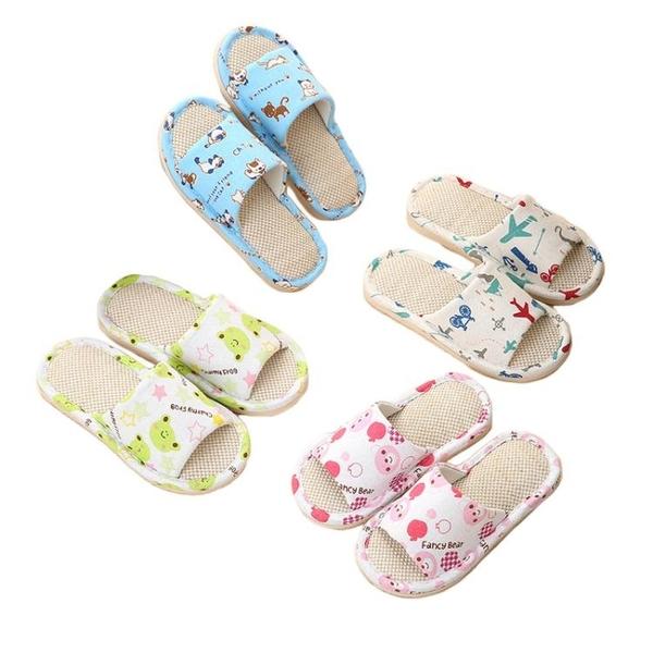 兒童涼拖鞋 室內夏季男童女童小孩家用亞麻家居春秋棉麻布寶寶防滑