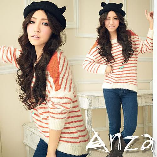 【AnZa】彩色細條紋棉柔毛衣(二色)
