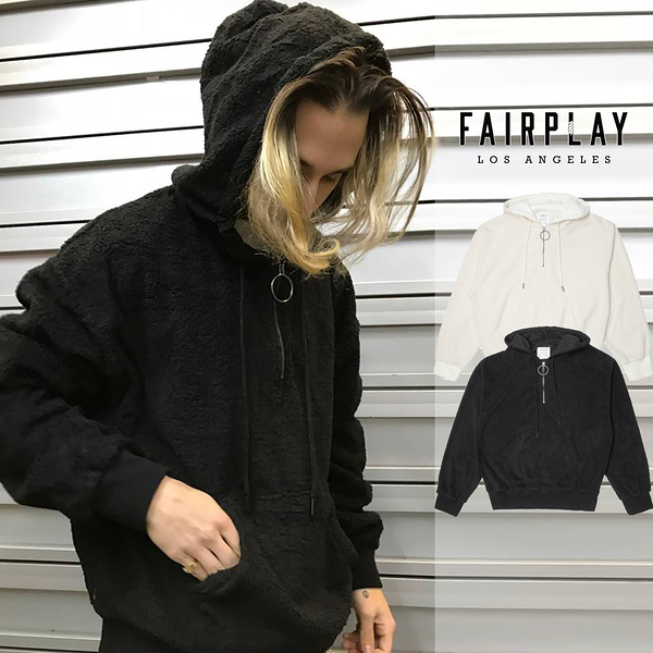 【GT】FairPlay Marlee 黑奶油白 長袖 連帽T恤 休閒 刷毛 素色 帽衫 美牌 現貨 抓毛絨 袋鼠口袋