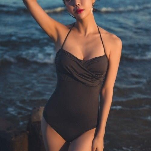 梨卡★現貨 - 性感前交叉後綁帶[美胸有鋼圈+露背]顯瘦黑色繞頸綁脖連身泳衣泳裝比基尼CR130