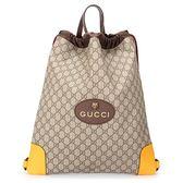 GUCCI GG Supreme drawstring 滿版雙G紋束口後背包(橘黃色)340445
