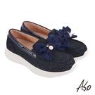 A.S.O機能休閒 萬步健康鞋 蝴蝶結金箔皮料休閒鞋-深藍
