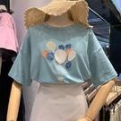T恤 夏季新款韓版純棉亮片熱氣球短袖t恤女學生寬鬆卡通刺繡上衣 【618特惠】