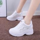 小白鞋女2021新款內增高春秋小白鞋女顯瘦運動鞋女百搭休閑網紅厚底老爹鞋 歐歐