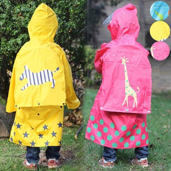 兒童雨衣增加書包空間款 ,附收納袋 梅雨季節 橘魔法