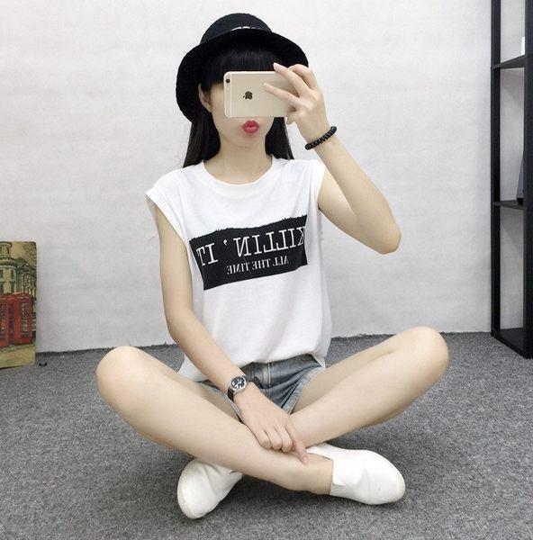(全館免運)DE SHOP~百搭字母印花無袖背心圓領寬鬆背心T恤 (T-507均碼
