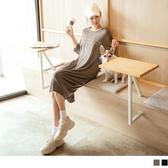 《DA7960》台灣製造。寬鬆草寫英字印花七分袖/短袖及膝洋裝 OrangeBear