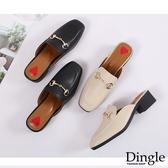 Dingle丁果ღ網紅方頭金屬鏈造型粗跟穆勒鞋(二色34-40)