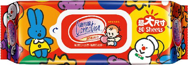 康乃馨寶寶潔膚濕巾超大尺寸 80片 200X220mm 厚型*12包/箱 *維康