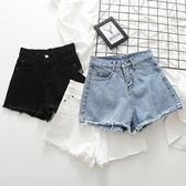 【首爾】牛仔毛邊短褲女夏正韓新款百搭顯瘦高腰寬鬆A字闊腿黑白熱褲