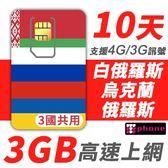 【TPHONE上網專家】白俄羅斯 / 烏克蘭 / 俄羅斯 10天 3GB高速上網 一卡在手 同時3個國家可以使用