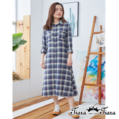 【Tiara Tiara】百貨同步ss  雙口袋開襟格紋長袖洋裝(藍)