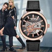 Kenneth Cole 帥氣重機械感玫瑰金紅針皮帶機械錶x44mm・公司貨・KC10031275|高雄名人鐘錶