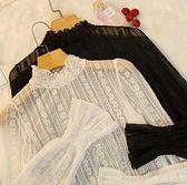 雷絲上衣女網紗精致內搭小衫雪紡蕾絲打底衫【少女顏究院】