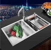 加厚304不銹鋼洗菜盆雙槽廚房洗碗盆水池台下盆單套餐 熊熊物語