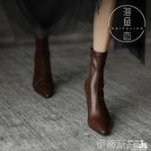 短靴 網紅瘦瘦靴尖頭短靴子女2020秋季襪靴ins潮性感粗跟高跟鞋彈力靴 伊蒂斯