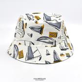 漁夫帽 手繪風滿版帆船休閒NHD33