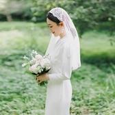 新娘結婚旅拍頭紗頭飾超仙森系韓式影樓寫真拍照道具復古蕾絲帽紗
