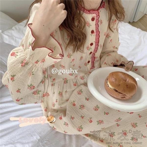 秋冬新款甜美碎花荷葉邊長袖睡衣睡裙女休閒寬鬆家居服連身裙